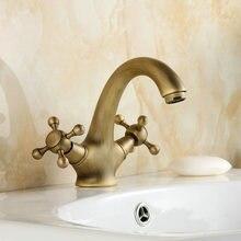 Античная латунь ванной кран бассейна раковина смеситель лебедь шеи 9019A