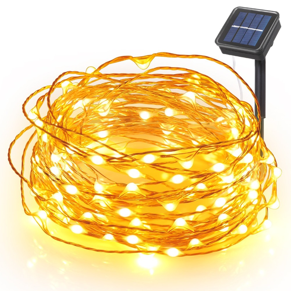 8Modes LED Outdoor Solar Lamps 100 LEDs String Lights Fairy Solar Garden Waterproof Holiday Christmas Party Lights Warm White