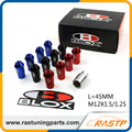 Rastp-20 pcs/pack jdm roda de alumínio lug blox anti roubo comprimento 45mm m12x1.5 nozes ou m12x1.25 para honda toyota ford LS-LN028