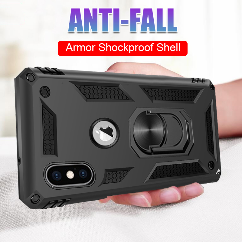 Luxury Armor Soft Shockproof Case On The For IPhone XR XS Max X Silicone Bumper Case For IPhone 6 6s 7 8 Plus Metal Ring Case(China)