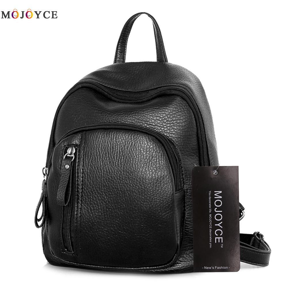 Luxury Design Women Backpack Teenager Girls Zipper Mini Soft Pu Leather Backpack Mochila Feminina Black