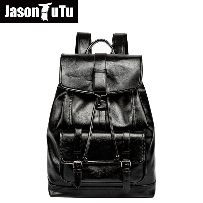 Latest Collection Of Male Drawstring Backpack Good Quality Pu Leather Rugzak 15/16 Inch Laptop Backpack Travel Vintage Black Brown Bagpack B624 Luggage & Bags Backpacks