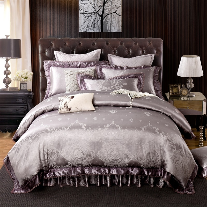 4 6 Pieces Luxury Silver Bedding Set King Queen Size Bed Quilted Skirt Satin Jacquard Cotton Duvet Cover Couvre Lit