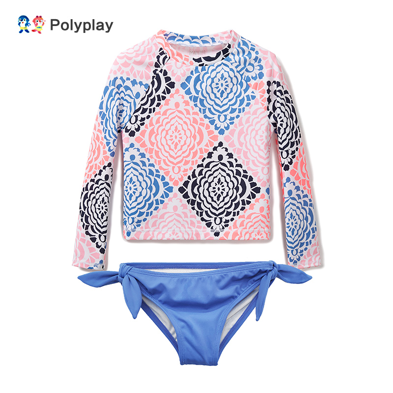 Baby Girls Swimwear Long Sleeve Rash Guard UV Protection Quick Dry Surfing Two Piece Swimsuit Child Sunscreen Beachwear