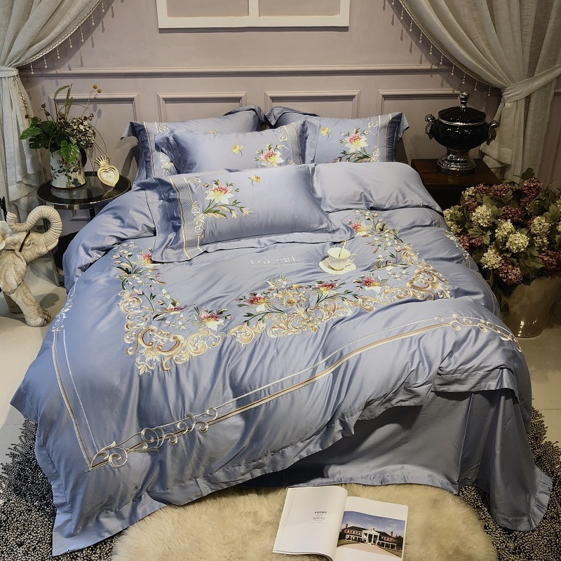 Luxury Blue Pastoral Flower Embroidery 80S Egyptian cotton Bedding Set Duvet Cover Bed sheet/Linen Pillowcases Queen King 4pcs