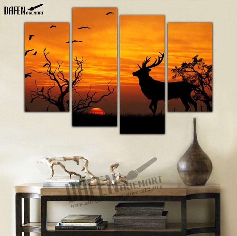 4 Panel Wandkunst gerahmte Kunst Sonnenuntergang Deer Malerei Tier ...