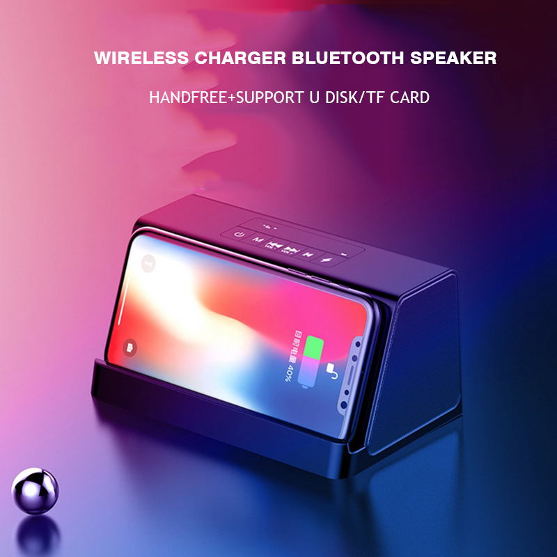 Stereo Bluetooth Speaker Wireless Charger for Smartphone Portable Bass Power Bank Sound Box Fast Charging For