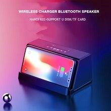 Cargador inalámbrico estéreo con Bluetooth para teléfono inteligente, caja de sonido portátil con bajos y carga rápida para iPhone X 8