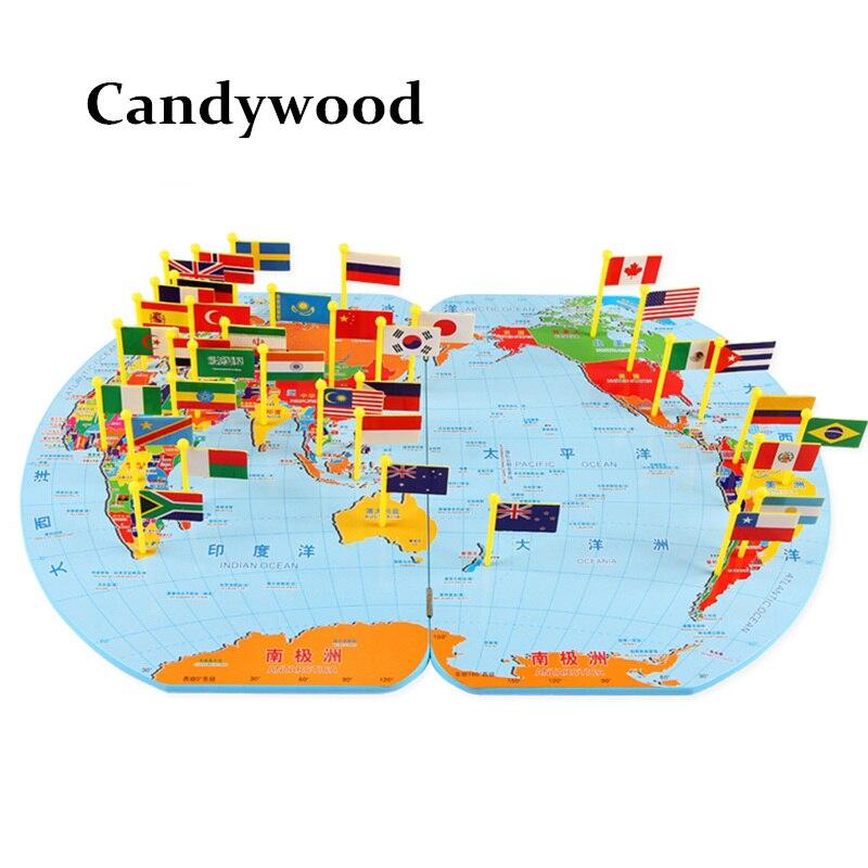 Candywood 3D En Bois Carte Du Monde jouet Drapeau national Stéréo jouets Éducatifs apprentissage puzzle Jigsaw pour les enfants enfants