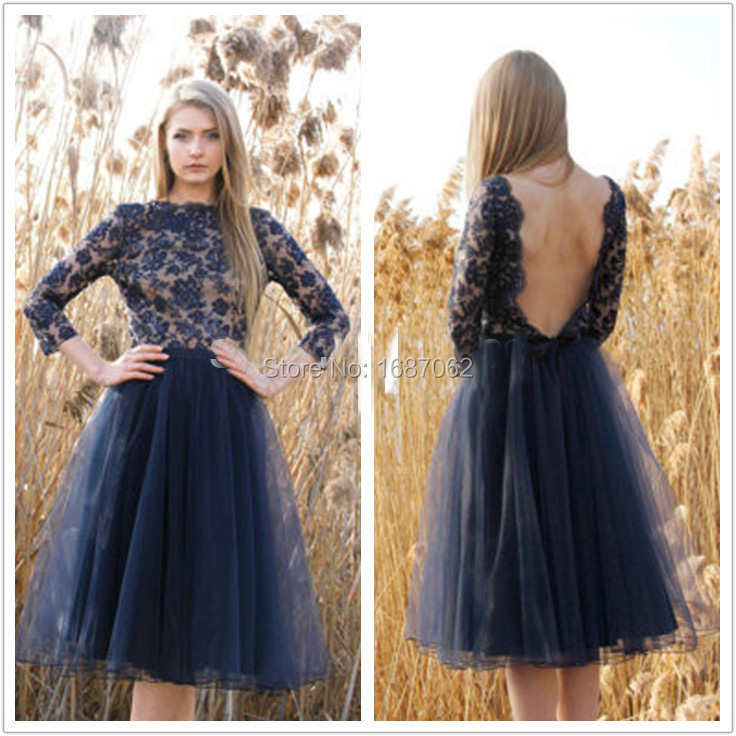 Custom Navy Blue Tulle Cocktail Party Dresses With 3/4 Sleeves Knee ...