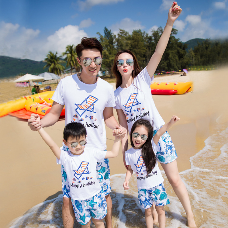 Beach holiday family a of four fitted with printed pattern cotton suit travel mother and daughter clothes