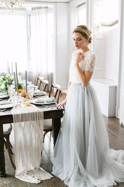 dced3bbd385 Powder Blue Tulle Skirt Lace Top Two Pieces Color Wedding Dresses 2017  A-line Modern
