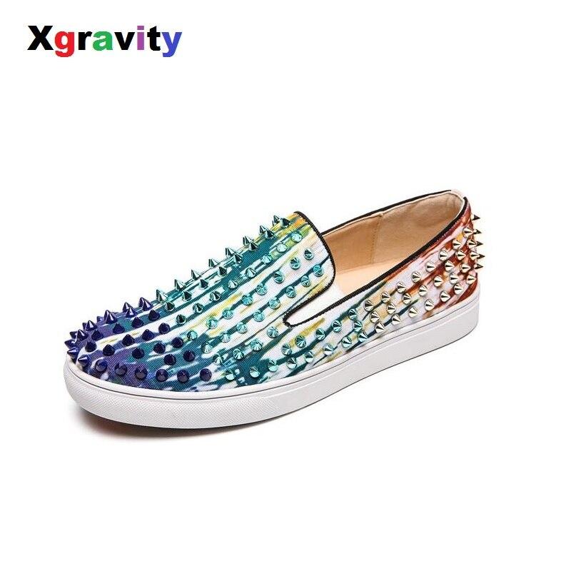 Xgravity 2019 printemps été dame mode bout rond Rivets chaussures plates Denim mode loisirs mocassins chaussures unisexe chaussures C005