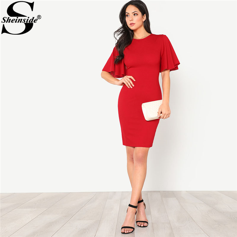 Sheinside Red Exaggerate Bell Sleeve Plain Pencil Dress Women Round Neck Short Sleeve Ruffle Dress 2018 Sexy Party Dress
