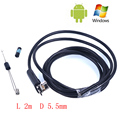 2 In1 Dual USB 6 LEDs 1M Endoscope Inspection Camera 5.5mm 2M Android Phone PC USB Borescope IP67 Waterproof