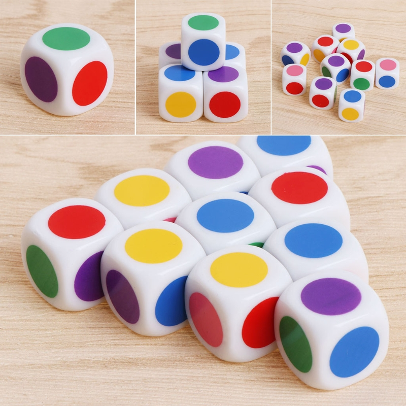 15mm Multicolor Acrylic Cube Dice Beads Six Sides d6 Portable Table Games Toy 10pcs