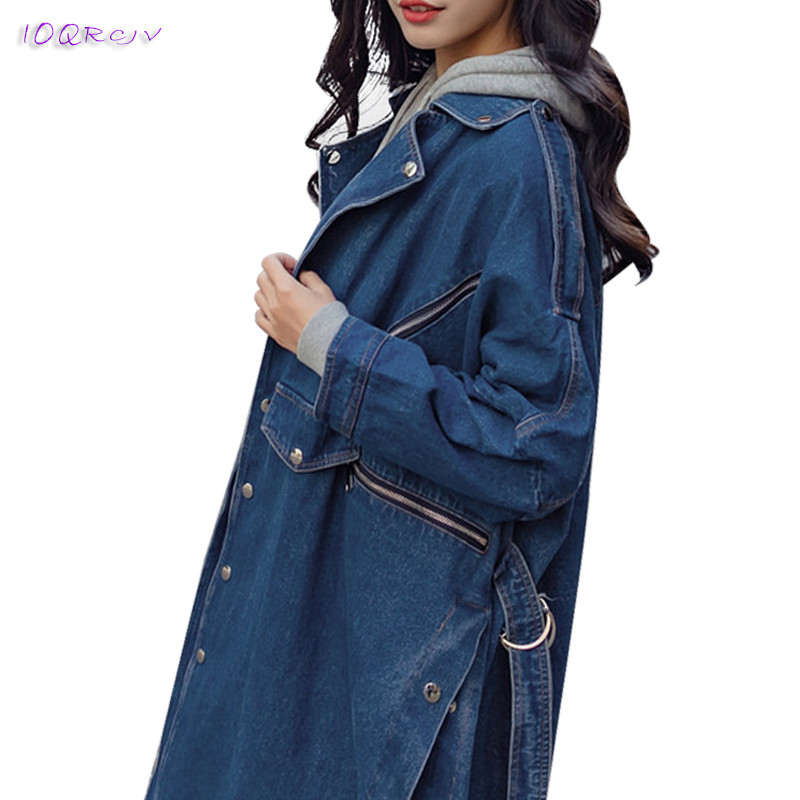 2018 spring autumn women's windbreaker loose denim fashion female trench coat women elegant long coats tops slim IOQRCJV T203