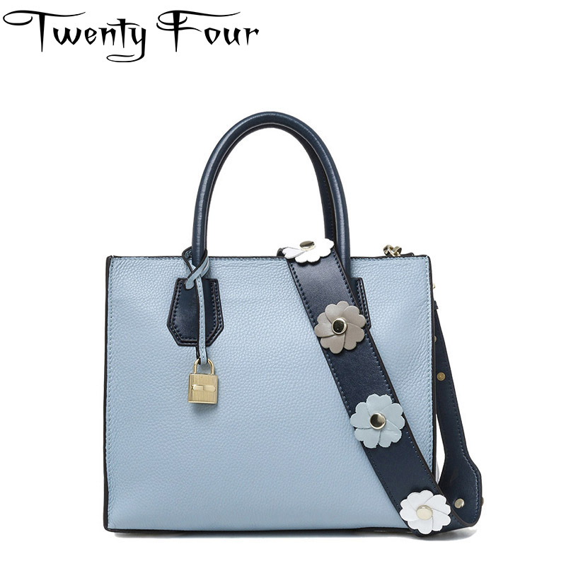 Twenty-four Women Luxury Casual Tote Bags With Floral Strap Lock Genuine Leather Ladies Handbags Fashion Solid Cross body Totes twenty four women brand flap bags natural genuine leather handbags with chain solid color cover small bags young cross body bags