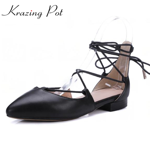 New fashion solid gladiator hollywood star women pumps low heel pointed toe genuine leather shallow party women causal shoes L15 women genuine leather sandals fashion pointed toe causal shoes buckle solid color black pink orange spring shoes square heel