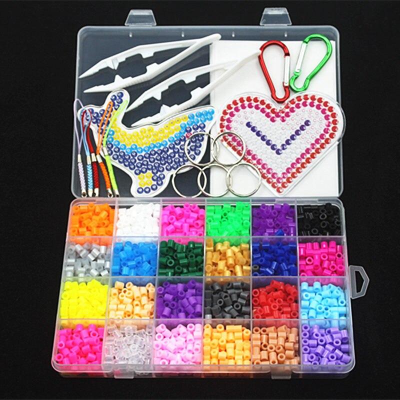 5mm 24 cor perler contas kit, hama contas com modelos acessórios para crianças diy handmaking 3d quebra-cabeça brinquedos educativos