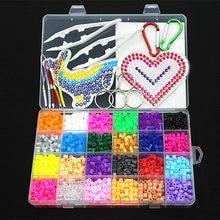 5mm 24 farbe perler perlen kit, hama perlen mit vorlagen zubehör für kinder kinder DIY handmaking 3D puzzle Pädagogisches Spielzeug