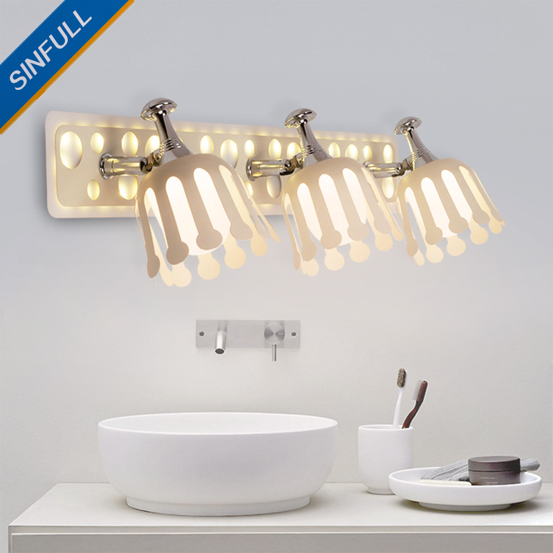 Modern Minimalist Led Mirror Light Bathroom Mirror Cabinet Wall Lights Dresser Makeup Sconce Lighting Wholesale Fixtures SINFULL modern led bathroom light stainless steel led mirror lamp dresser cabinet waterproof sconce indoor home wall lighting fixtures