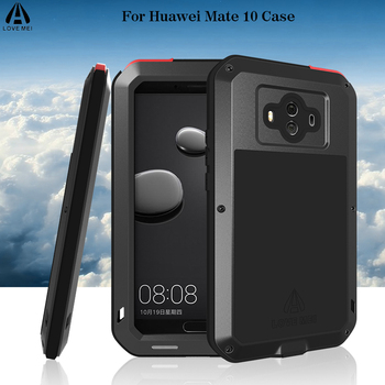 Love Mei For Huawei Mate 10 Case Luxury 3D Brand Metal Aluminum+Soft Silicone Armor Full Protective Back Phone Case Cover Funda