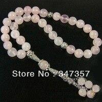 ナチュラル 33 ピンク クリスタル ラウンド形状ビーズ数珠イスラム教徒tasbih アッラー送料無料