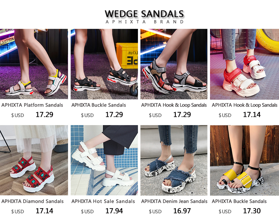 sandálias mulher 5.5cm altura crescente colorido verão hook & loop sapatos femininos