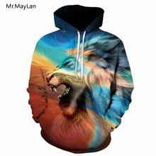 Hipster 3D Hiphop Hoodies Galaxy 동물 형형색색의 사자 인쇄 남자 / 여자 Streetwear 풀오버 후드가 된 스웨터 코트 보이 재킷 5XL