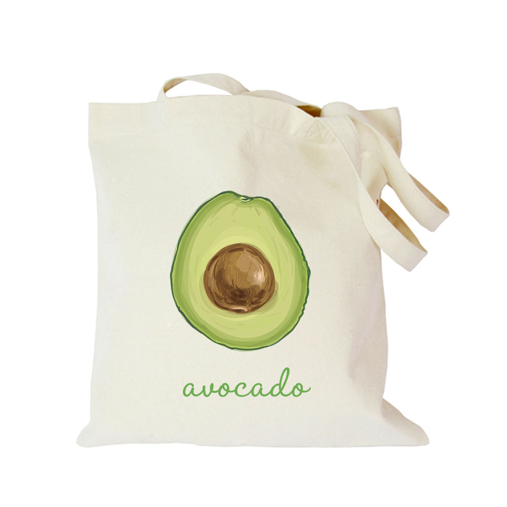 Origina kawaii canvas avocado custom tote bag customize eco diy logo shopping bag with logo (3)
