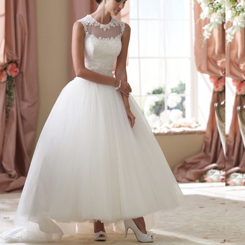 Online get cheap simple wedding gowns for Lace ankle length wedding dress