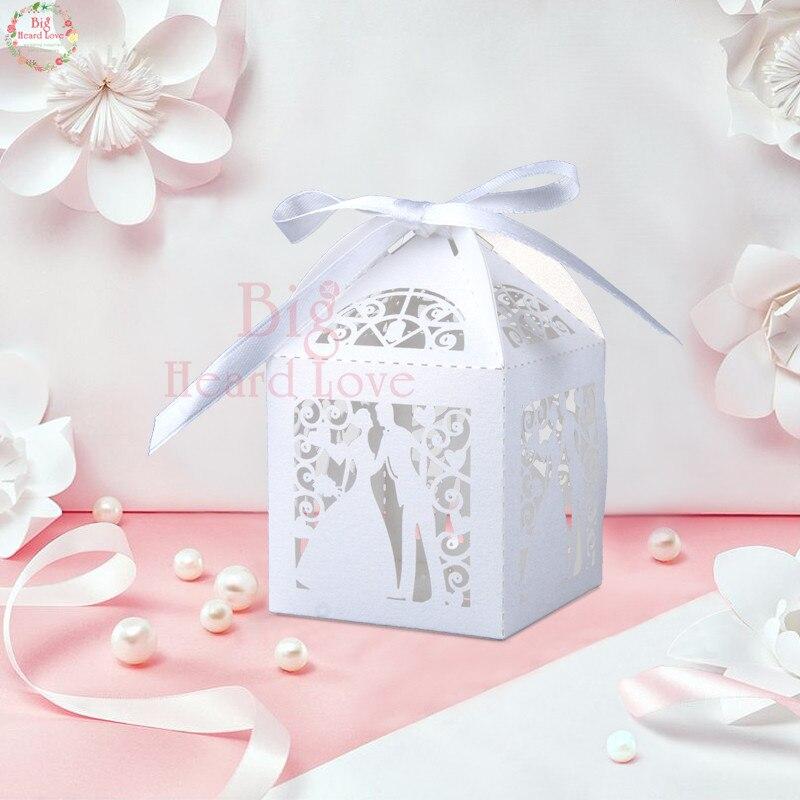 Big Heard Love 50 шт. лазерная резка невесты и жениха Свадебная коробочка для сладостей Подарочная коробка свадебное оформление коробки вечерние поставки