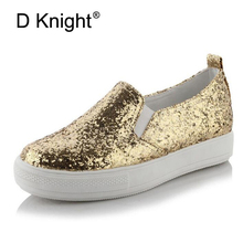 Glitter Flats Platform Shoes Woman Round Toe Slip-on Ladies Casual Shoes Sequined Cloth Sneakers For Women Plus Size 30-43 Gold