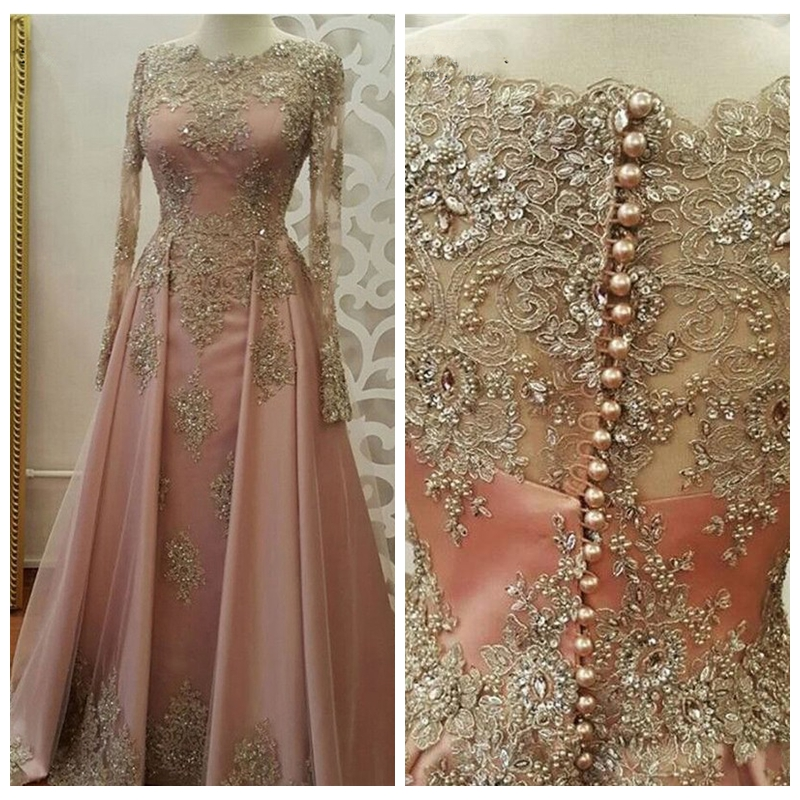 2019 Sheer Jewel Long Sleeves A-Line Evening Dresses Beaded Prom Party Gowns Gold Lace Appliques Formal Custom Special Occasion