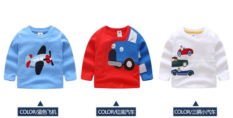 2018 Spring Autumn For 2-9 10 Years Children Cotton Striped Patchwork Cartoon Car Bus Truck Baby Kids Boys Long Sleeve T Shirts (14)