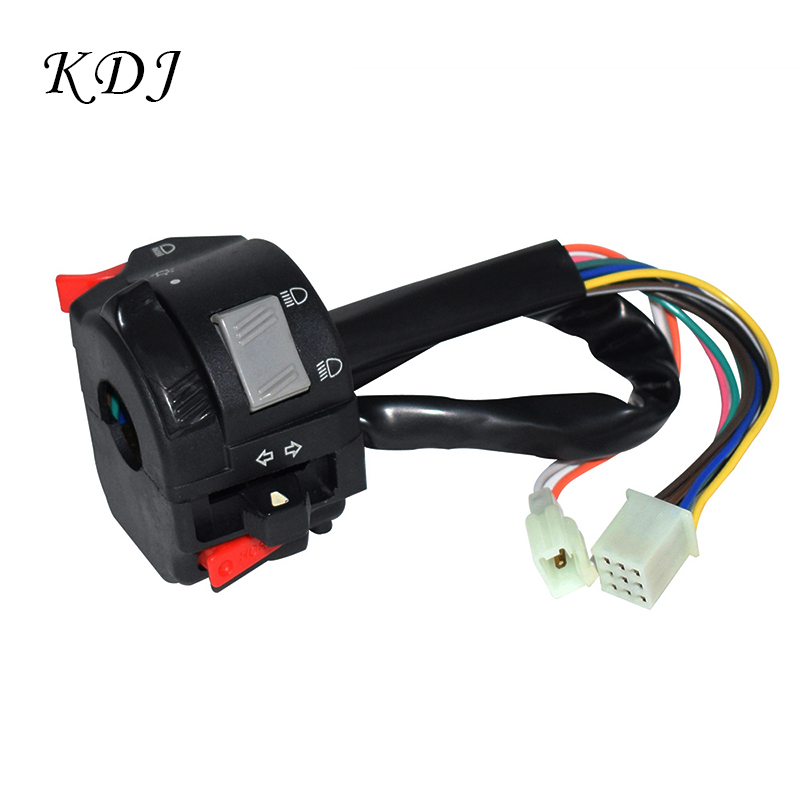 7/8'' 22mm Motorcycle <font><b>ATV</b></font> Handlebar Control <font><b>Switches</b></font> Headlight Fog Light Turn Signal Horn High/Low Beam Button With 11 Wires image