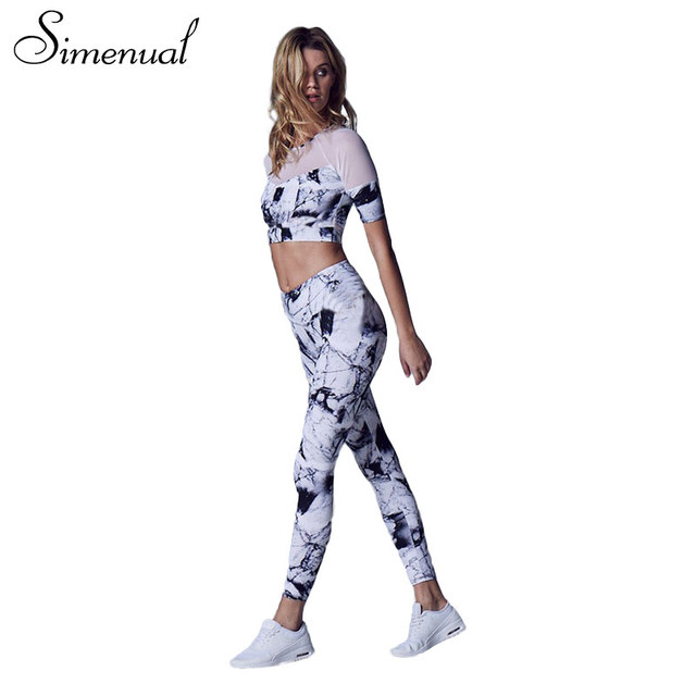 Simenual Mesh splice print tracksuit for women 2017 crop top t-shirts leggings summer tracksuits sportswear fitness sexy suits