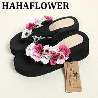 HAHAFLOWER New High With Flip Flops Female Summer Wedges Cool Slippers Thick Bottom Anti Slip Beach
