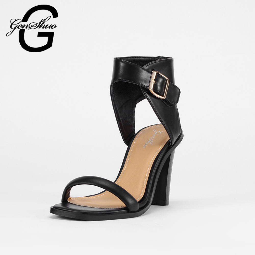ФОТО Women Sandals 2017 New Hot Summer Sexy High Heel Sandals Ladies Wood Buckle Grain Heel Ankle Strapy Gladiator Sandals Sexy Shoes