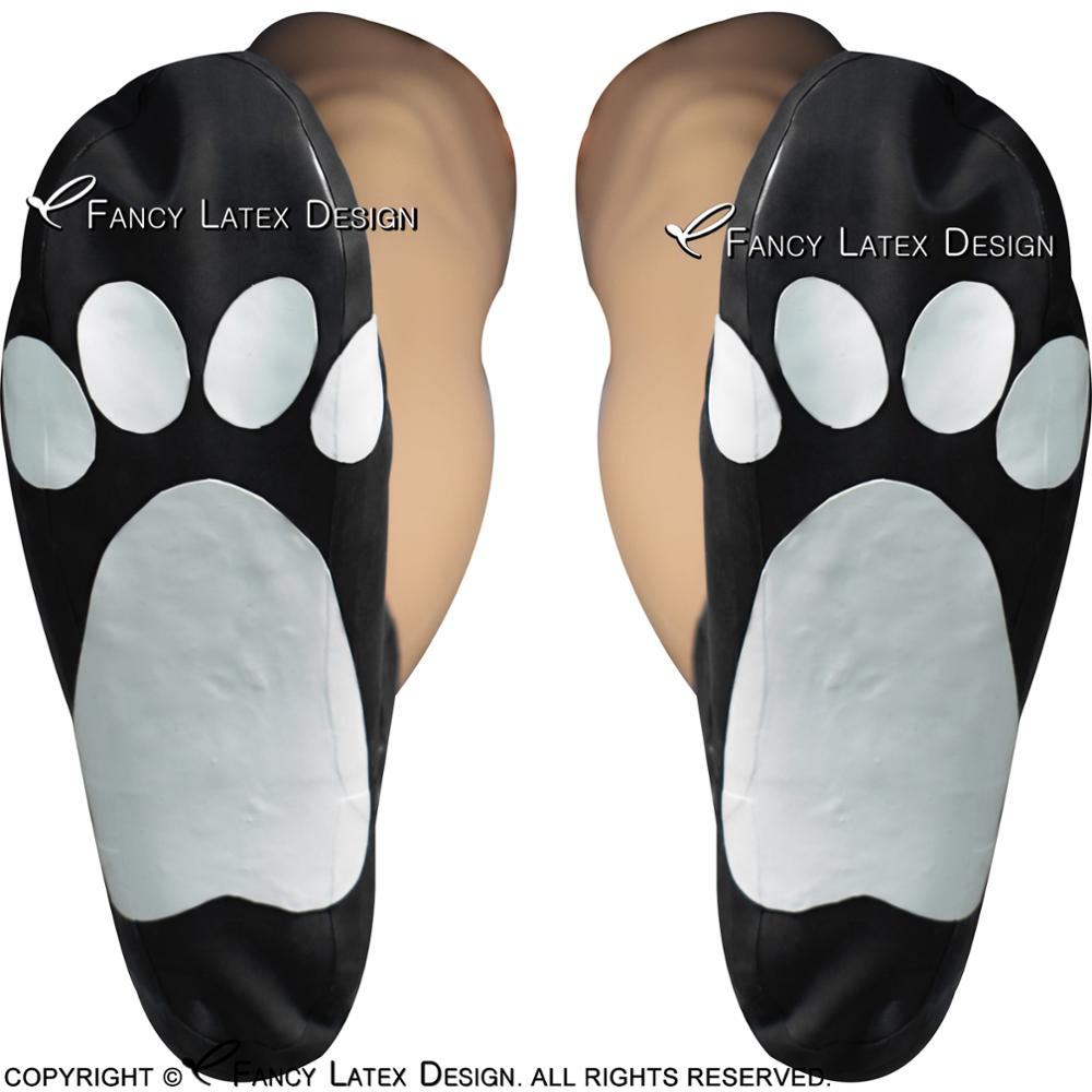 Black With White Sexy Short Cat Latex <font><b>Socks</b></font> With Sole Pattern <font><b>Animal</b></font> Rubber <font><b>Socks</b></font> WZ-0010 image
