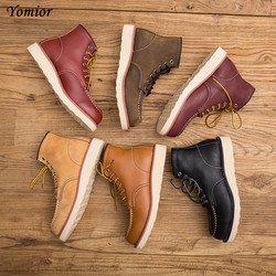 Yomior fashion genuine leather men s boots red ankle boots outdoor work martin cowboy wing motorcycle.jpg 250x250