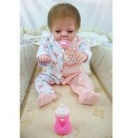 55 см полный корпус силиконовая девочка Bebe Reborn кукла детские игрушки Реалистичные Новорожденные девочки младенцы кукла подарок на день рожд