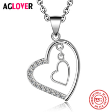 Love 100% Sterling Silver Necklace Women Charm Double Heart Pendant Necklace Fashion Luxury Female Jewelry new i love football fencing helmet charm pendant necklace alloy ancient silver fashion women