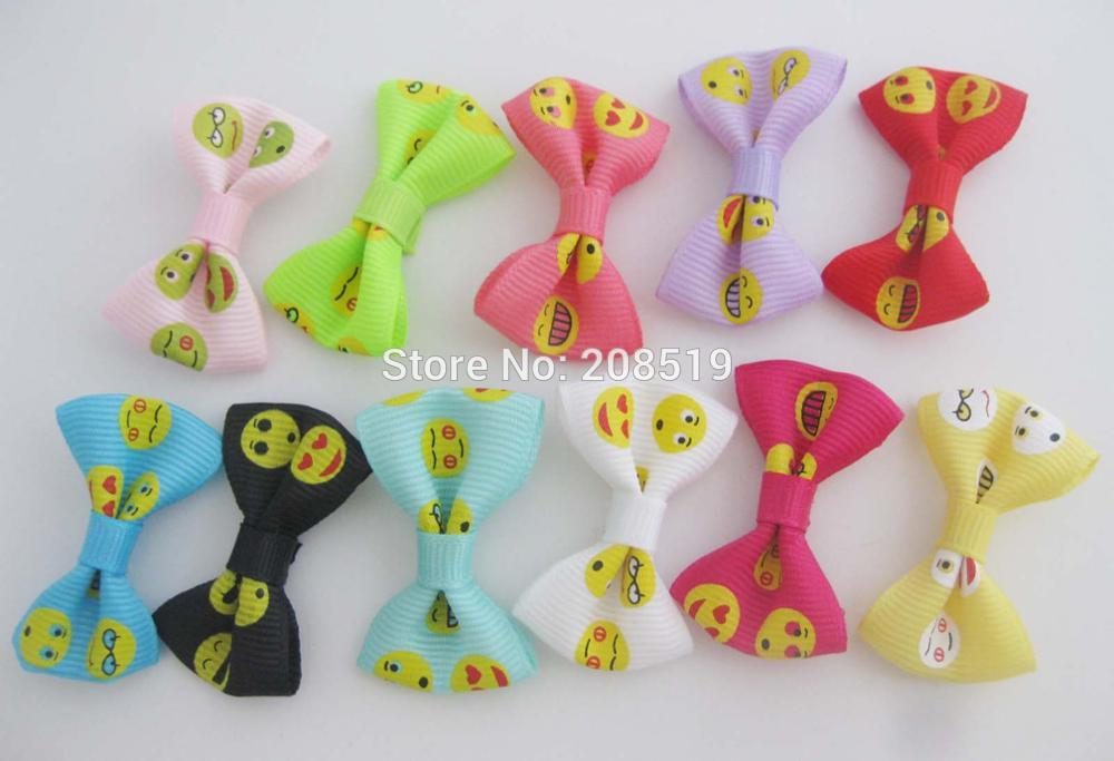 FZNNKK Fashion Bows by Ribbon printed Expression series 50 pieces Multicolors hair accessories