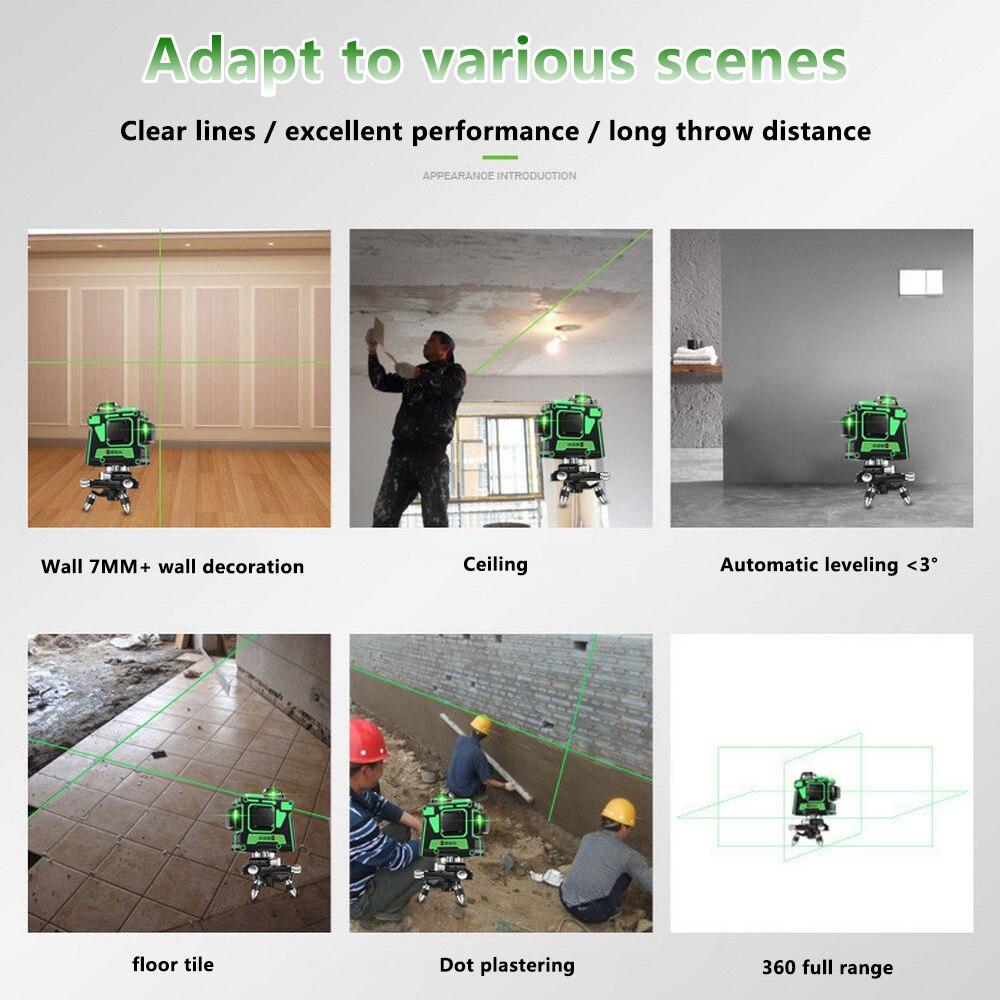 3D 12 Linien Green Laser Level mit Wand Halterung 360 Grad Einstellen Basis Laser Strahl Linie Horizontale Vertikale Kreuz Laser linien - 3