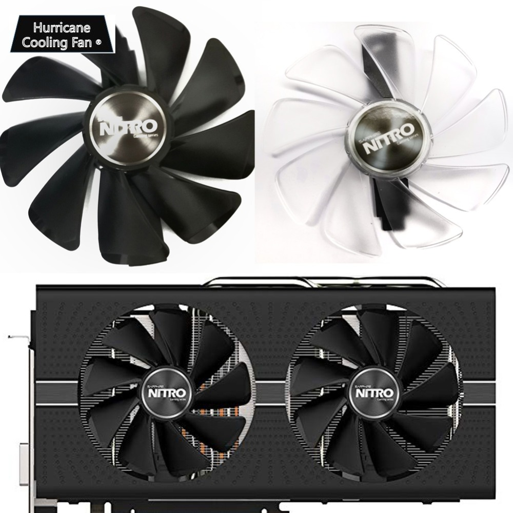 Image 5 - 95mm CF1015H12D Graphics Card Blue Led Cooler Fan for Sapphire NITRO RX480 RX470 RX580 RX570 RX590 RX 470 480 570 580 590 4G 8G-in Fans & Cooling from Computer & Office