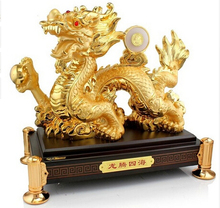 Copper Brass CHINESE crafts decoration Asian  15 China resin gild Feng Shui carved beautiful money dragon Sculpture statue