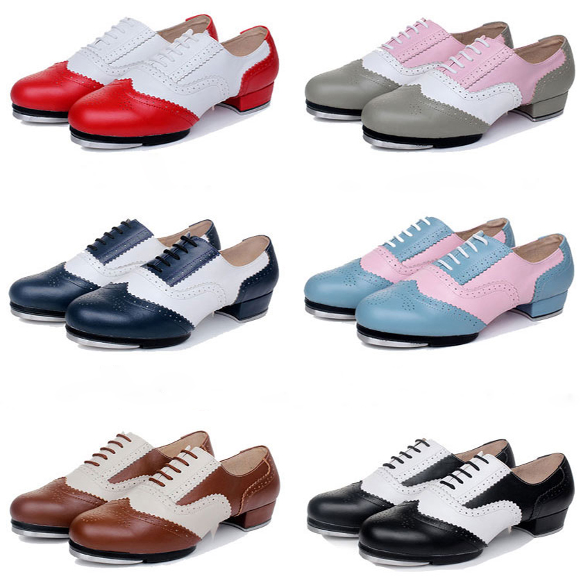 цена Quality Baroco Style Genuine Leather Vintage Tap Shoes Jazz Flamenco Dancing Shoe Men Women's Clogging Tap Dance Shoes EU34-EU45
