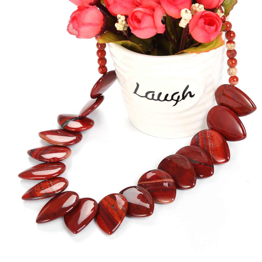 Cristal vermelho Ágata Grandes Mulheres Colar Pingente Reiki Pedra Jóias Collares Cadeia Colares Colar de Jóias Exageradas Presente Do Partido